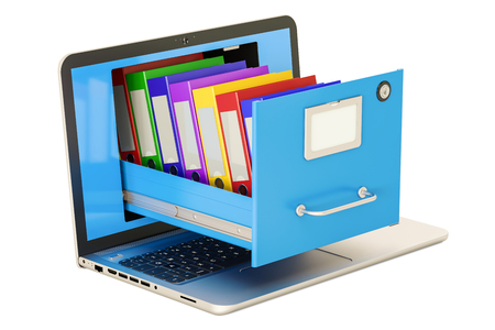 Laptop data storage. Notebook with folders in filing cabinet, 3D rendering