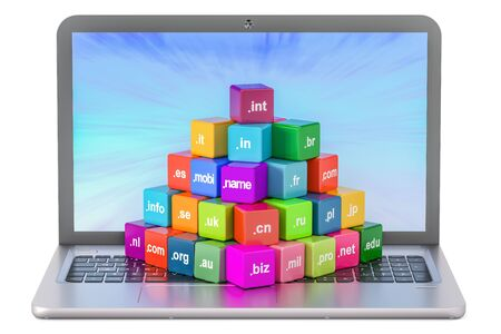 Set of colored cubes with domain names and laptop, 3D rendering