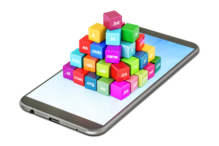 Set of colored cubes with domain names on smartphone, 3D rendering