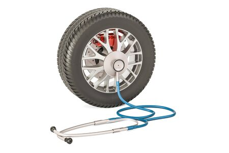 tread: Car wheel with stethoscope, service station and auto repair concept. 3D rendering isolated on white background