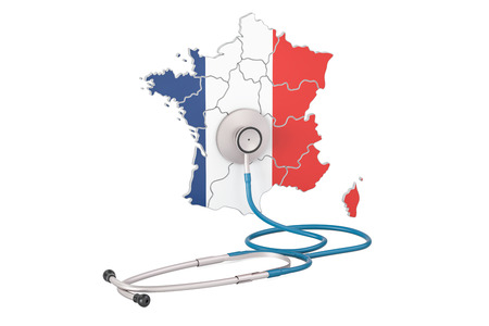 French map with stethoscope, national health care concept, 3D rendering