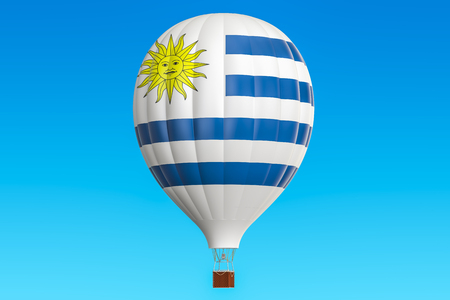 Hot air balloon with Uruguay flag, 3D rendering