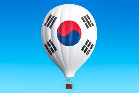 Hot air balloon with South Korea flag, 3D rendering