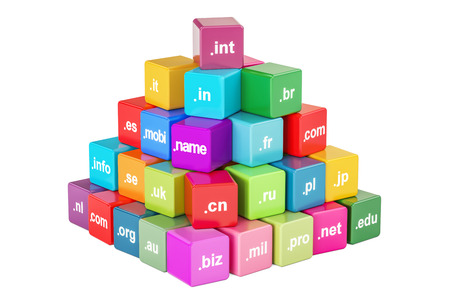 Set of colored cubes with domain names, 3D rendering