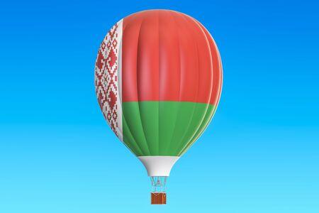 belorussian: Hot air balloon with Belorussian flag, 3D rendering