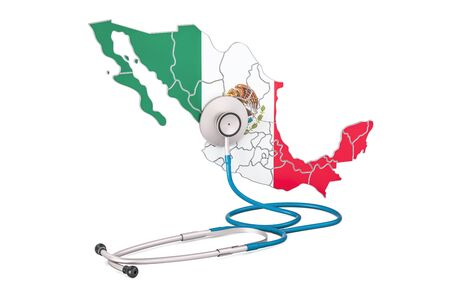 Mexican map with stethoscope, national health care concept, 3D rendering Stock Photo