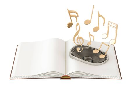 Opened book with loudspeaker and music notes, audiobook concept. 3D rendering Stock Photo