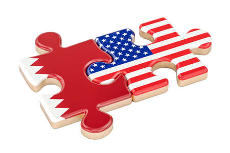 Qatar and USA puzzles from flags, 3D rendering isolated on white background Stock Photo