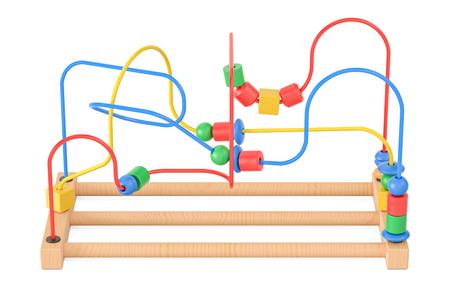 Houten kralen doolhof, educatief speelgoed. 3D-rendering op een witte achtergrond