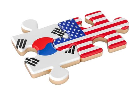South Korea and USA puzzles from flags, 3D rendering isolated on white background Stock Photo