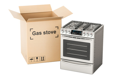 Unpacking gas stove, 3D rendering isolated on white background Stock Photo