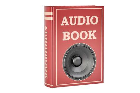 Concetto di audiolibro, rappresentazione 3D isolata su fondo bianco Archivio Fotografico - 80063537