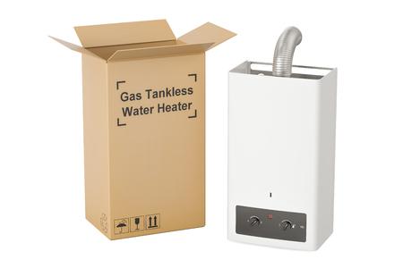 Calentador de agua sin tanque de gas con caja de cartón, concepto de entrega. Representación 3D Foto de archivo - 80063436