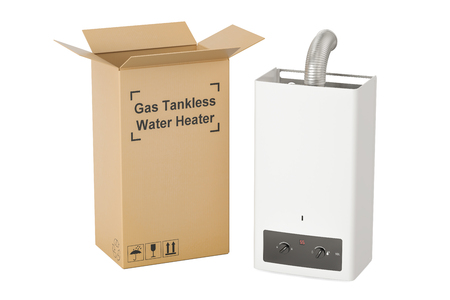 Gas tankless water heater with cardboard box, delivery concept. 3D rendering Stok Fotoğraf