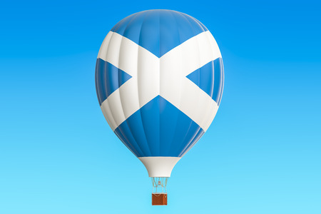 Hot air balloon with Scotland flag, 3D rendering Stock Photo