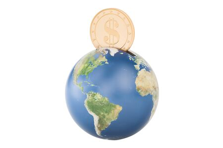 Earth globe piggy bank, 3D rendering Stock Photo