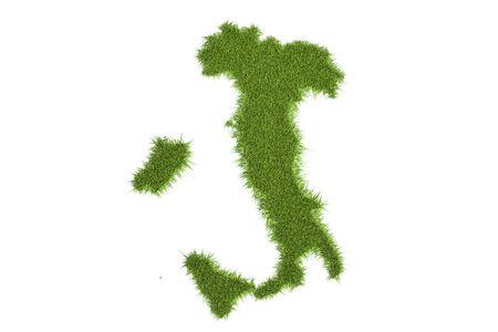 topografia: Mapa italiano de la hierba verde, representación 3D aisladas sobre fondo blanco