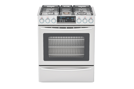 cook out: Steel gas cooker with oven front view, 3D rendering isolated on white background Stock Photo