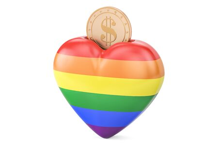 Money box in heart shape with rainbow flag, 3D rendering