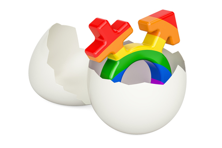 Egg with rainbow male and female sign inside, 3D rendering