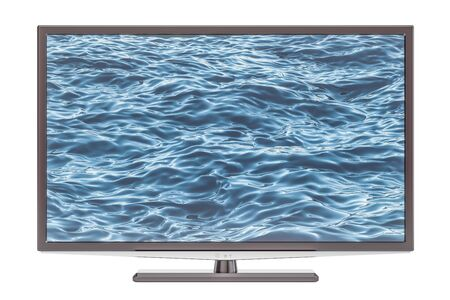 Modern TV set, 3D rendering isolated on white background