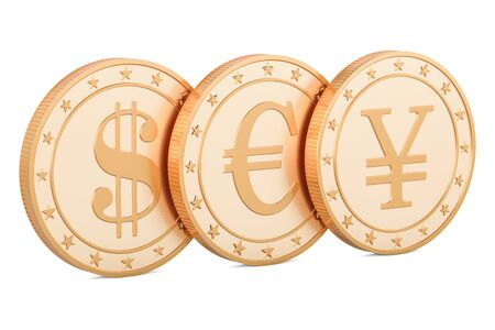 yuan: set of golden coins. Dollar, euro and yen or yuan, 3D rendering isolated on white background Stock Photo