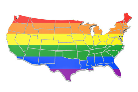 United states map with LGBT flag, 3D rendering Stock Photo