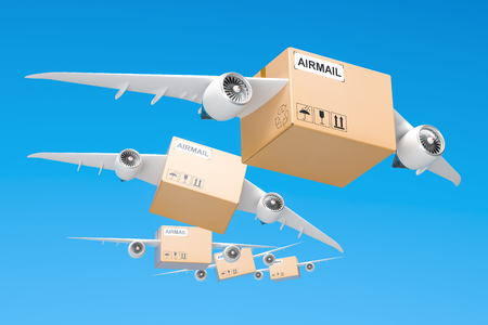 Air mail delivery concept. Parcels with wings flying in the sky, 3D rendering
