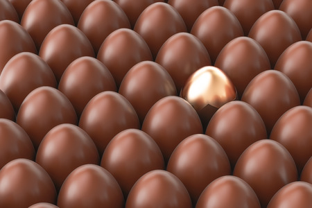 christmas bonus: Chocolate eggs with one golden egg, 3D rendering Stock Photo