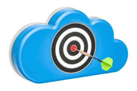 computer cloud with dartboard, 3D rendering isolated on white background