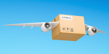 Delivery concept. Parcel with wings flying in the sky, 3D rendering Stock Photo