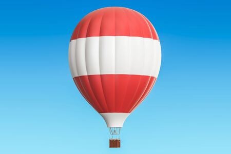 Hot air balloon with Austrian flag, 3D rendering