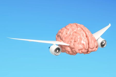 Human brain with airplane wings, free mind concept. 3D rendering
