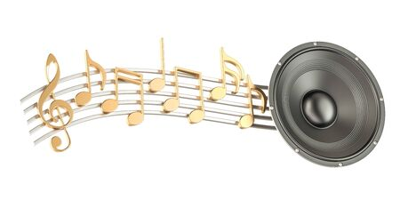 loudspeaker: Loudspeaker with music notes, musical concept. 3D rendering isolated on white background
