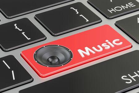 Pulsante Musica, tasto rosso sulla tastiera. Rendering 3D Archivio Fotografico - 80315146