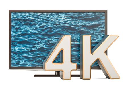 TV set 4K concept, 3D rendering isolated on white background