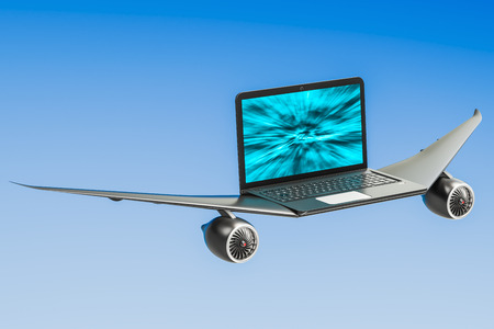 Laptop with airplane wings, turbo boost concept. 3D rendering