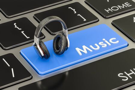 reportage: Music button, blue key on keyboard with headphones. 3D rendering Stock Photo