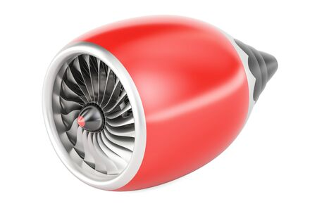 aeroengine: red jet engine, 3D rendering isolated on white background
