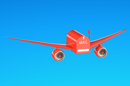 Delivery concept. Mailbox with wings flying in the sky, 3D rendering