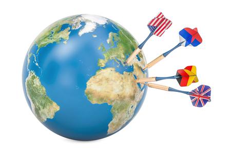 世界政治と政治目標概念、3 D レンダリング