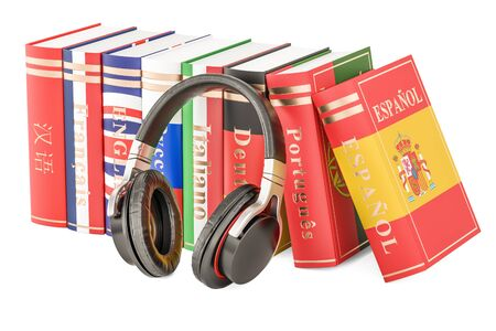 Headphones and language books, learning concept. 3D rendering