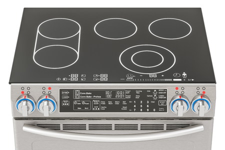 kitchen range: Electric slide-in convection range top view. Kitchen Stove, 3D rendering isolated on white background