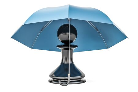 Pawn under umbrella. Security and protect or insurance concept, 3D rendering