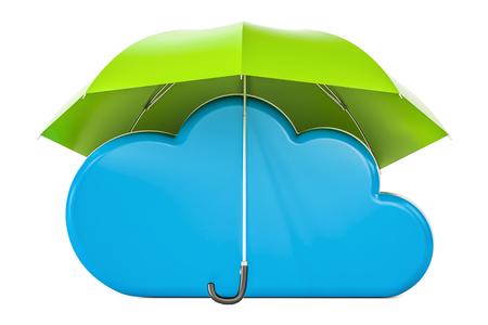 Security and protection concept, computing cloud under umbrella. 3D rendering