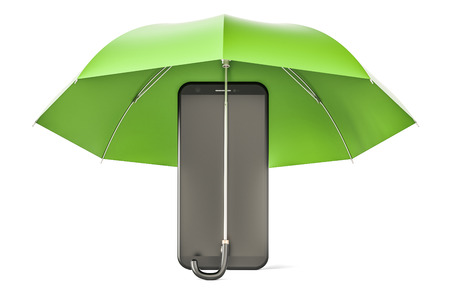 Smartphone under umbrella. Phone security and antivirus protection concept, 3D rendering