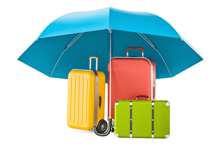 Travel insurance concept, suitcases under umbrella. 3D rendering Foto de archivo