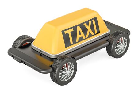 Taxi service concept, phone with wheels. 3D rendering isolated on white background