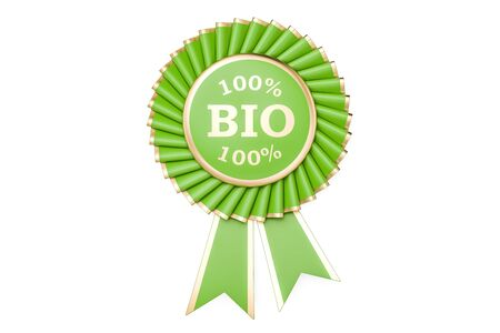 100% bio award, prize, medal or badge with ribbons. 3D rendering isolated on white background