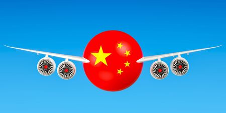 Chinese airlines and flyings, flights to China concept. 3D rendering